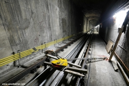 Pulling the new cable - tunnel view