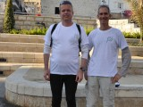 At the starting point - Paris Sq. - Thomas Fietz with Guy Shachar, founder of Haifa Trail