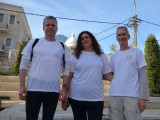 At the starting point - Paris Sq. Thomas Fietz with Yael Levanon and Guy Shachar