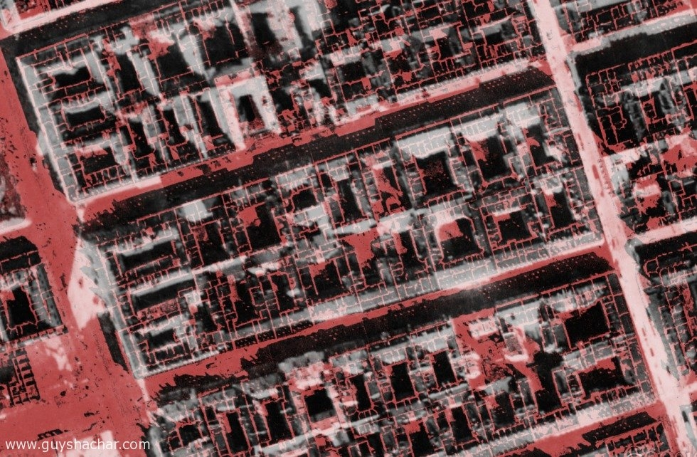 destroyed buildings superimposed on existing buildings - 1935 vs. 1945